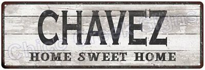 CHAVEZ Home Sweet Home Country Look Gloss Metal Sign 6x18 Chic Décor G61801604