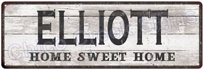 ELLIOTT Home Sweet Home Country Look Gloss Metal Sign 6x18 Chic Décor G61801867