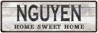 NGUYEN Home Sweet Home Country Look Gloss Metal Sign 6x18 Chic Décor G61801586