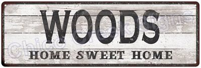 WOODS Home Sweet Home Country Look Gloss Metal Sign 6x18 Chic Décor G61801388