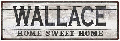 WALLACE Home Sweet Home Country Look Gloss Metal Sign 6x18 Chic Décor M61801849