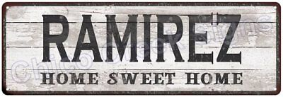 RAMIREZ Home Sweet Home Country Look Gloss Metal Sign 6x18 Chic Décor M61801837