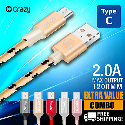 """USB 3.1 Type C to Male Data Cable Charger for Mac 12"""" Google HTC Sony HuaWei MI"""