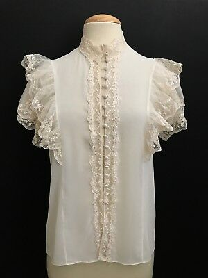"""Vintage Poly Crepe Lace Victorian Style """"strauss By Bonnie"""" Blouse"""