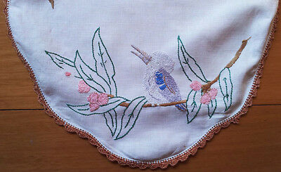 Dressing table linen cloth or traycloth, embroidered, vintage, kookaburra scene