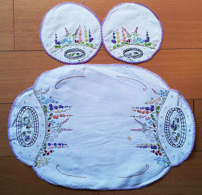 Dressing table linen set with two doilies, vintage, embroidered