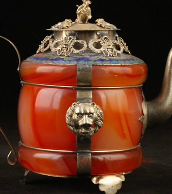 Beautiful Chinese Tibet Silver Red jade Teapot mk