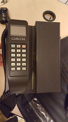 Vintage 1980s Carcom Car Cellular Phone with Case and Antenna