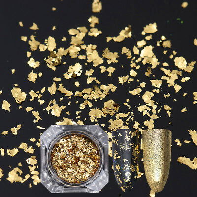 Born Pretty Nail Sequins Glitter Paillette Powder Dust Flakes Gold Irregular DIY