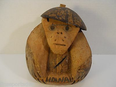 HAWAII COCONUT MONKEY HEAD BANK ~ Wearing Hat & Glasses ~ Handcarved Souvenir