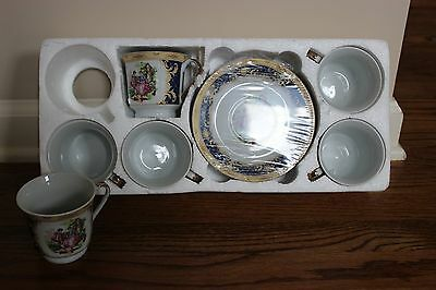Yamasen Gold Collection Fine Porcelain 24CT Gold Plated Cups & Saucers Set of 6