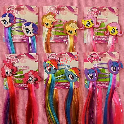 My Little Pony Princess Braid Wig Hair Clips Girls Cosplay Hair Accessories US