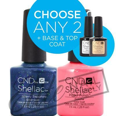 CND SHELLAC - 7.3ml - Any 2 Colours + Base + Top Coat + FREE CND SolarOil