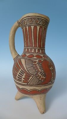 """Old vintage Mexican Ameyaltepec Guerrero ceramic pitcher urn 10 3/4"""" tall"""
