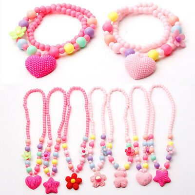 Girls Set Bracelet Flower Necklaces Jewelry Children Cartoon Peach Heart