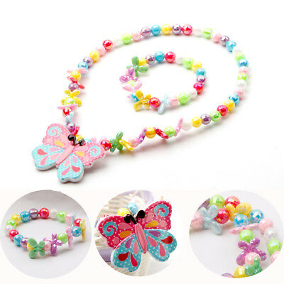 Fashion Butterfly Lovely Jewelry Necklace Girls Set Kids Children New Bracelet