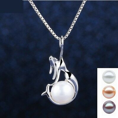 "925 Sterling Silver Freshwater Pearl Mermaid Pendant Necklace 18"" Chain Gift Box"