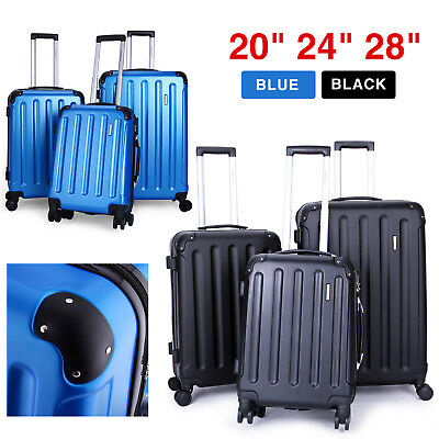 New 3 Pcs Luggage Travel Set Bag ABS Trolley Suitcase 360° Spinner Black / Blue