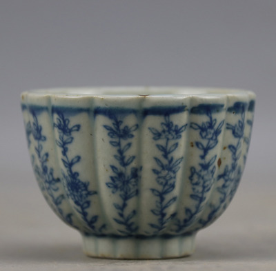 old chinese beautiful Ming dyn Wanli blue and white porcelain tea cup b01
