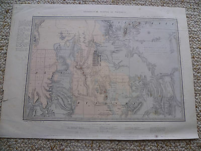 Vintage Old Victorian Mining Survay Map, Old Map, With Stamp,