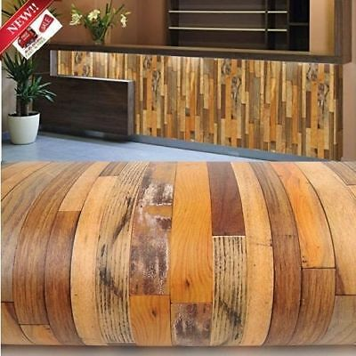Adhesive Wallpaper Wooden Distressed Panel Grain Vinyl Peel Stick Cover Counter