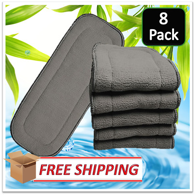 8 x SECONDS Charcoal Bamboo Reusable Cloth Nappy Inserts Liners FREE SHIPPPING