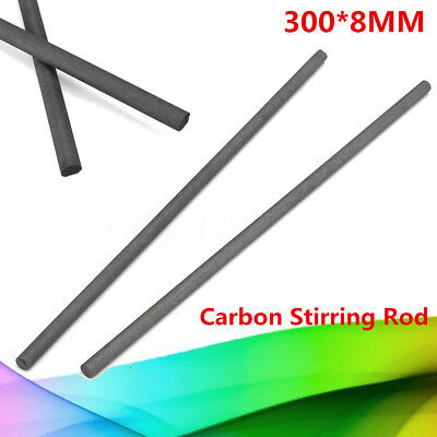 2Pcs 300*8MM Carbon Stirring Rod Graphite Electrode Bar For Melting Welding