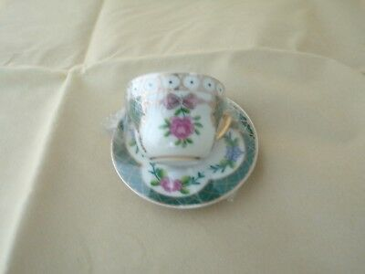 Small Ceramic Cup & Saucer 4cm High Green White Floral B1