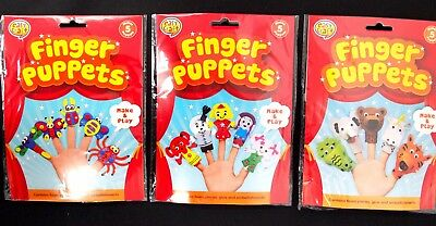 Diy Finger Puppets Kit - Make And Play Craft Kids Learn School Fun Art Project
