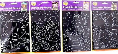 4Pk Scratch Art Pictures - Craft Colouring Diy Art Project Cute Animals Drawing