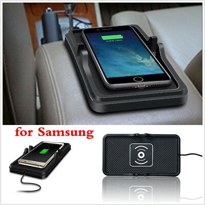 Qi Wireless Fast Charger for Samsung Car Dashboard Holder Mount Silicone Mat Pad