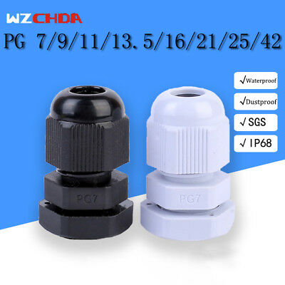 10Pcs PG 7 9 11 13.5 16 21 25 42 Waterproof Cable Gland Connectors LW