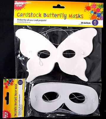 Decorate Yourself Paper Masks - Butterfly Plain Craft Diy Fun Art Project Cute