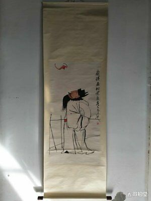 old Chinese Scroll Painting By Qi BaiShi :man c74