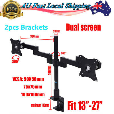 2X Dual HD LED Desk Mount Monitor Stand Bracket 2 Arm Holds Two LCD Screen TV