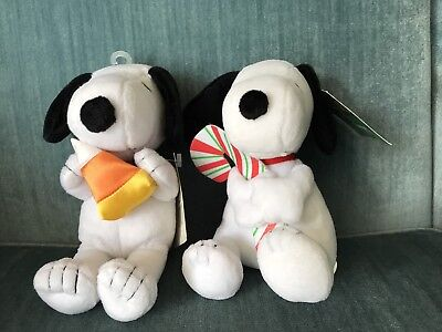 2 Set Of Halloween Snoopy Holding Candy Corn And Cane 6""