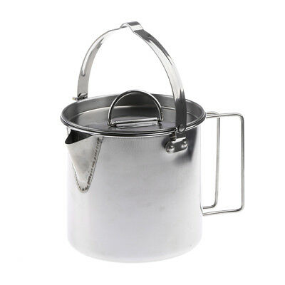 Stainless Steel Camping Kettle Outdoor Picnic Cookware Campfire Hanging Pot