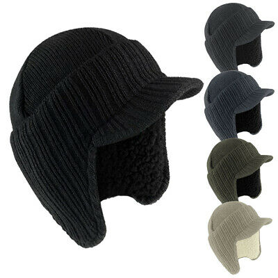 Mens Peaked Knit Winter Warm Fleece Lined Cap Hat Beanie Ear Flaps Work Outdoor