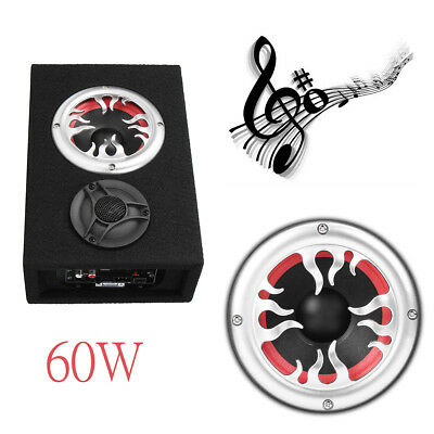 "4"" Inch 60W 220V Car Truck Ultra Slim Under-Seat Powered Subwoofer Speaker Kit"