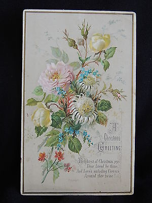 Victorian Christmas Greeting Card – Dated 1879 - Floral-Just Beautiful!