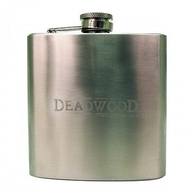 Deadwood Logo Stainless Steel Hip Flask with box