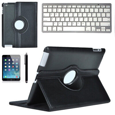 Bluetooth Keyboard +PU Leather Case Rotating Cover Touch Pen for iPad 2 3 4