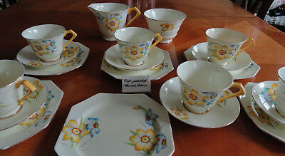 6P Tee- Kaffee-Service Royal Paragon By Appointment England handgemalt Art Deco