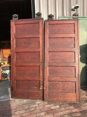 Ar 77 Matched Pair Antique Oak Pocket Doors 6' X 84
