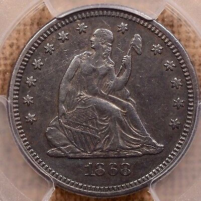 1868 Very Tough date Seated quarter, PCGS XF det, appealing   DavidKahnRareCoins