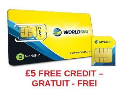 Worldsim travelers sim card £5 CREDIT FREE (BULK ORDERS CONTACT FOR PRICE)