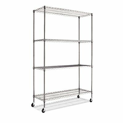 Alera 4-Shelf Wire Shelving Rack | 48 x 18 x 72 | Black Anthracite