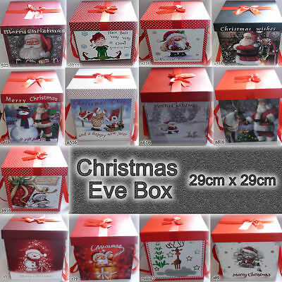New Christmas Eve Gift Box Large Xmas Present Wrapping Boxes with Lid Bag Paper