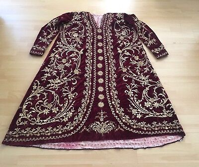 19th ANTIQUE OTTOMAN-TURKISH GOLD METALLIC DIVAL HAND EMBROIDERIED BRIDAL DRESS-
