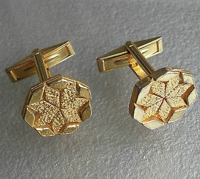 VINTAGE CUFFLINKS 1960s 1970s BRIGHT GOLDTONE METAL MOD MODERNIST RETRO CHUNKY